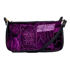 Purple Background Patchwork Flowers Shoulder Clutch Bags by BangZart