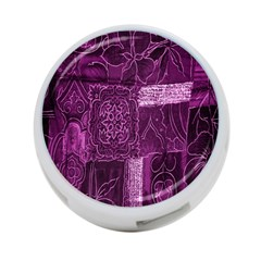 Purple Background Patchwork Flowers 4 Port Usb Hub (one Side) by BangZart