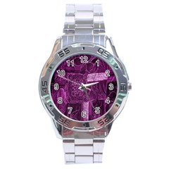 Purple Background Patchwork Flowers Stainless Steel Analogue Watch