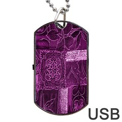Purple Background Patchwork Flowers Dog Tag Usb Flash (two Sides)