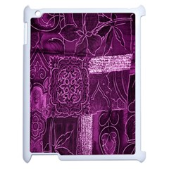Purple Background Patchwork Flowers Apple Ipad 2 Case (white) by BangZart