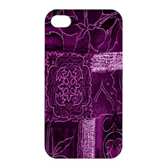 Purple Background Patchwork Flowers Apple Iphone 4/4s Premium Hardshell Case by BangZart