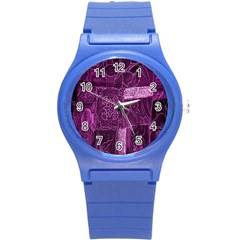 Purple Background Patchwork Flowers Round Plastic Sport Watch (s) by BangZart