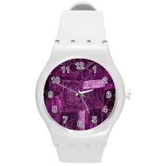Purple Background Patchwork Flowers Round Plastic Sport Watch (m) by BangZart