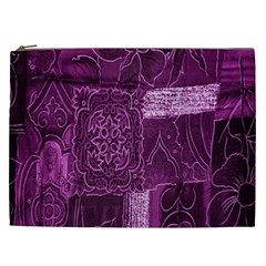 Purple Background Patchwork Flowers Cosmetic Bag (xxl)  by BangZart