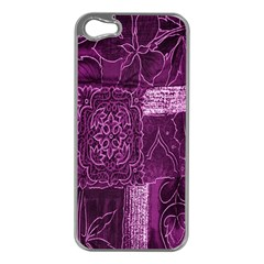 Purple Background Patchwork Flowers Apple Iphone 5 Case (silver) by BangZart