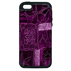 Purple Background Patchwork Flowers Apple Iphone 5 Hardshell Case (pc+silicone) by BangZart