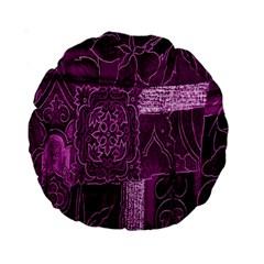 Purple Background Patchwork Flowers Standard 15  Premium Round Cushions