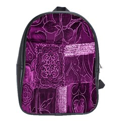 Purple Background Patchwork Flowers School Bags (xl)