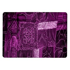 Purple Background Patchwork Flowers Samsung Galaxy Tab 10 1  P7500 Flip Case
