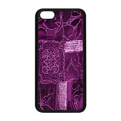 Purple Background Patchwork Flowers Apple Iphone 5c Seamless Case (black) by BangZart