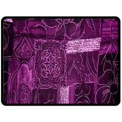 Purple Background Patchwork Flowers Double Sided Fleece Blanket (large)  by BangZart