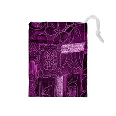 Purple Background Patchwork Flowers Drawstring Pouches (medium)  by BangZart