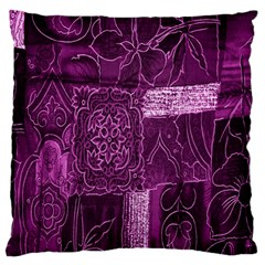 Purple Background Patchwork Flowers Large Flano Cushion Case (one Side) by BangZart