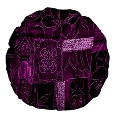 Purple Background Patchwork Flowers Large 18  Premium Flano Round Cushions by BangZart