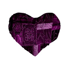 Purple Background Patchwork Flowers Standard 16  Premium Flano Heart Shape Cushions by BangZart