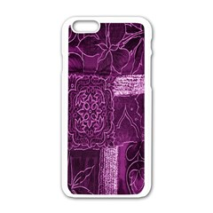 Purple Background Patchwork Flowers Apple Iphone 6/6s White Enamel Case by BangZart