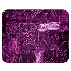 Purple Background Patchwork Flowers Double Sided Flano Blanket (medium)