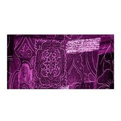 Purple Background Patchwork Flowers Satin Wrap