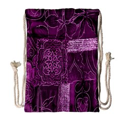 Purple Background Patchwork Flowers Drawstring Bag (large)