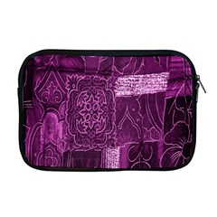 Purple Background Patchwork Flowers Apple Macbook Pro 17  Zipper Case