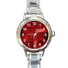 Red Background Patchwork Flowers Round Italian Charm Watch by BangZart