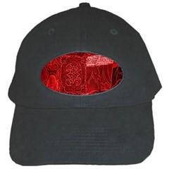 Red Background Patchwork Flowers Black Cap by BangZart