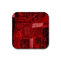 Red Background Patchwork Flowers Rubber Square Coaster (4 Pack)  by BangZart