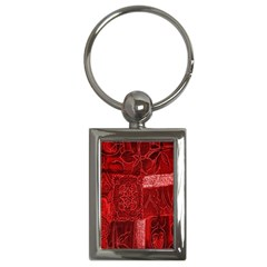 Red Background Patchwork Flowers Key Chains (rectangle)  by BangZart