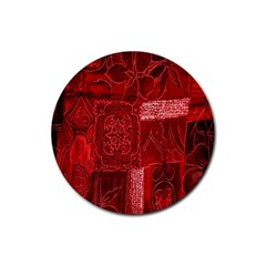 Red Background Patchwork Flowers Rubber Coaster (round)  by BangZart