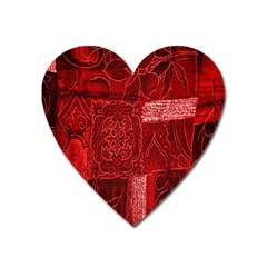 Red Background Patchwork Flowers Heart Magnet by BangZart