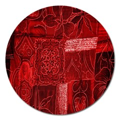 Red Background Patchwork Flowers Magnet 5  (round) by BangZart