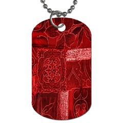 Red Background Patchwork Flowers Dog Tag (two Sides) by BangZart