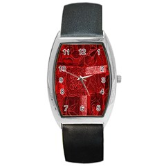 Red Background Patchwork Flowers Barrel Style Metal Watch by BangZart