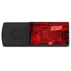 Red Background Patchwork Flowers Usb Flash Drive Rectangular (4 Gb) by BangZart