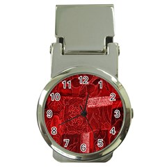Red Background Patchwork Flowers Money Clip Watches by BangZart