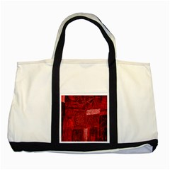 Red Background Patchwork Flowers Two Tone Tote Bag
