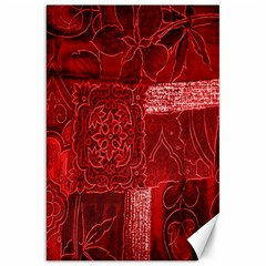 Red Background Patchwork Flowers Canvas 20  X 30