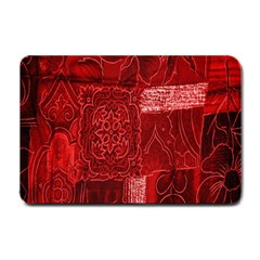 Red Background Patchwork Flowers Small Doormat  by BangZart
