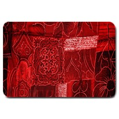Red Background Patchwork Flowers Large Doormat  by BangZart