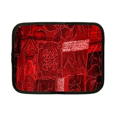 Red Background Patchwork Flowers Netbook Case (small)  by BangZart