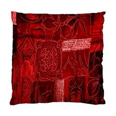 Red Background Patchwork Flowers Standard Cushion Case (two Sides) by BangZart