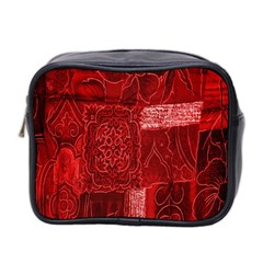 Red Background Patchwork Flowers Mini Toiletries Bag 2 Side