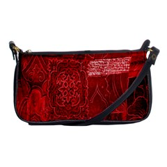 Red Background Patchwork Flowers Shoulder Clutch Bags