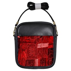 Red Background Patchwork Flowers Girls Sling Bags