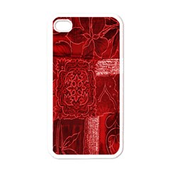 Red Background Patchwork Flowers Apple Iphone 4 Case (white) by BangZart
