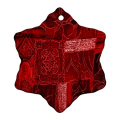 Red Background Patchwork Flowers Ornament (snowflake) by BangZart