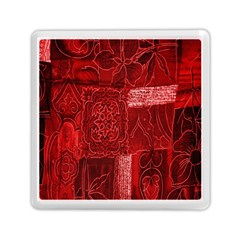 Red Background Patchwork Flowers Memory Card Reader (square)  by BangZart