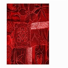 Red Background Patchwork Flowers Small Garden Flag (two Sides) by BangZart