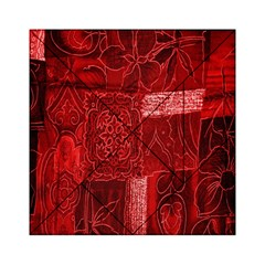 Red Background Patchwork Flowers Acrylic Tangram Puzzle (6  X 6 ) by BangZart